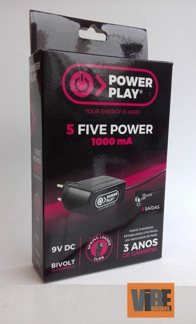 Fonte Power Play Five Power, 9V DC 1000mA